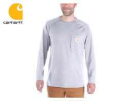 Tričko Carhartt Force Cotton Long Sleeve T-Shirt / Heather Grey