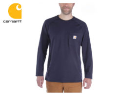 Tričko Carhartt Force Cotton Long Sleeve T-Shirt / Navy